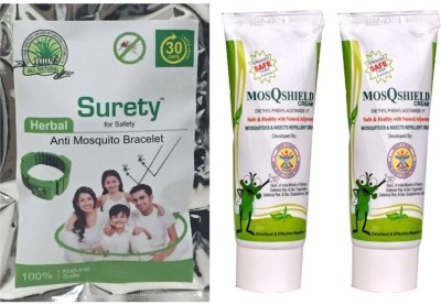 Surety for Safety Anti Mosquito Bracelet Green + MosQshield Cream + MosQshield Cream