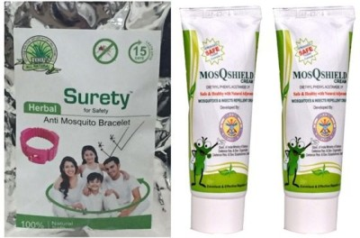 Surety for Safety Herbal Anti Mosquito Bracelet pink + MosQshield Cream + MosQshield Cream