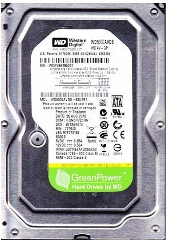 WD AV-GP 500 GB Desktop Internal Hard Disk Drive (WD5000AVDS)   Computer Storage  (WD)