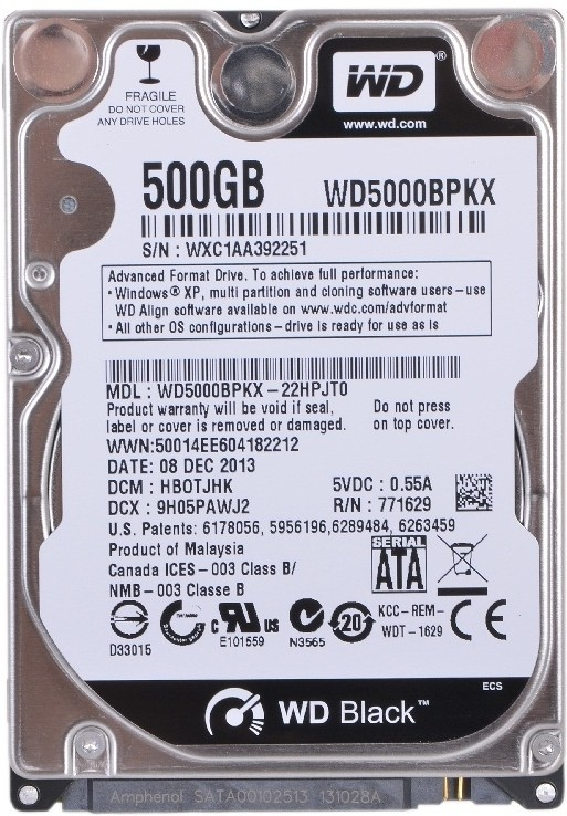 WD SATA 500 GB Laptop Internal Hard Disk Drive (WD5000BPKX)   Computer Storage  (WD)