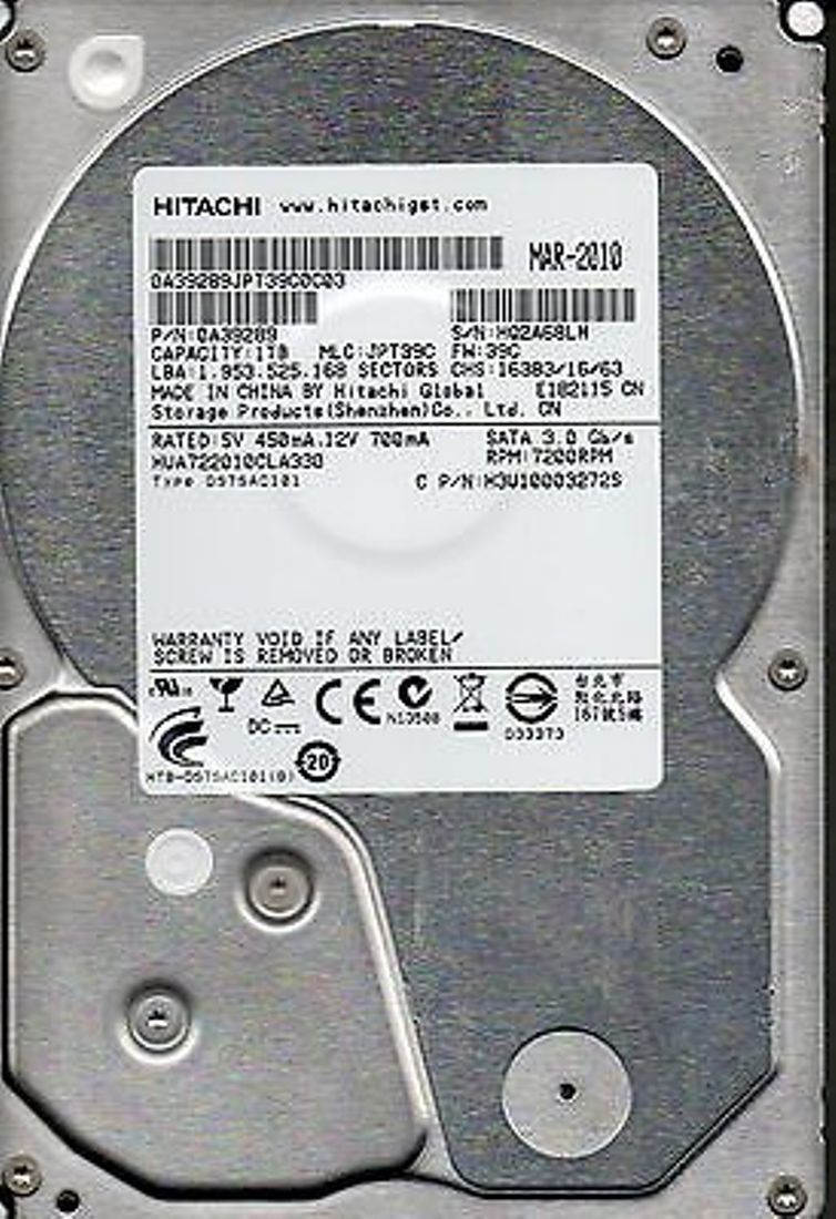View Hitachi HITACHI 1 TB Desktop Internal Hard Disk Drive (HUA722010CLA330) Price Online(Hitachi)