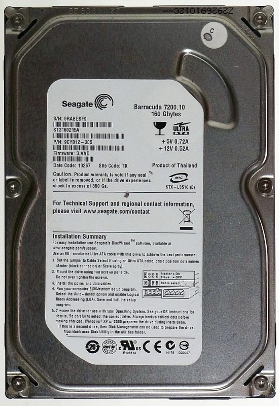 Seagate Barracuda 160 GB Desktop Internal Hard Disk Drive (ST3160215A)