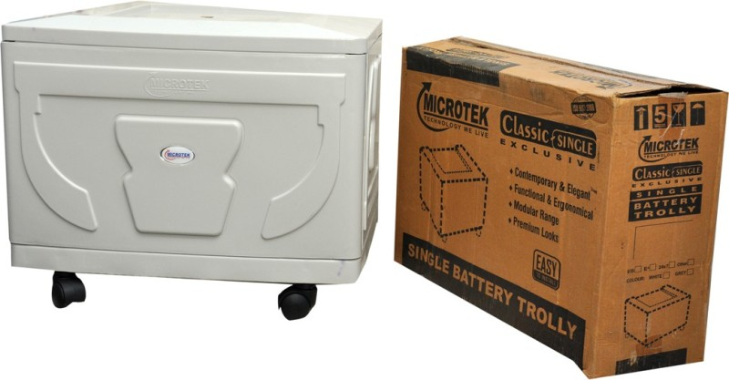 Microtek Classic Single Trolley for Inverter and Battery(White)