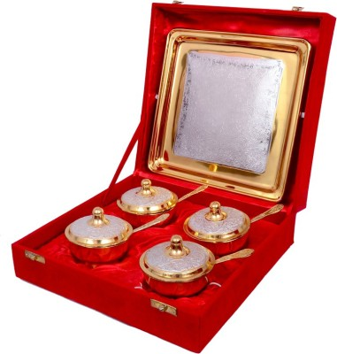 Shreeng Gold And Silver Plated Mouth Freshner Set Of 9 Pcs. Bowl Spoon Tray Serving Set(Pack of 9) at flipkart