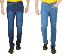 Meghz Jeans (Men's) - Meghz Regular Men's Blue, Dark Blue Jeans(Pack of 2)