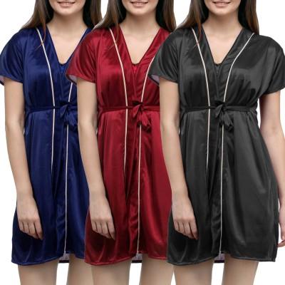 You Forever Women's Robe(Black, Maroon, Blue) at flipkart