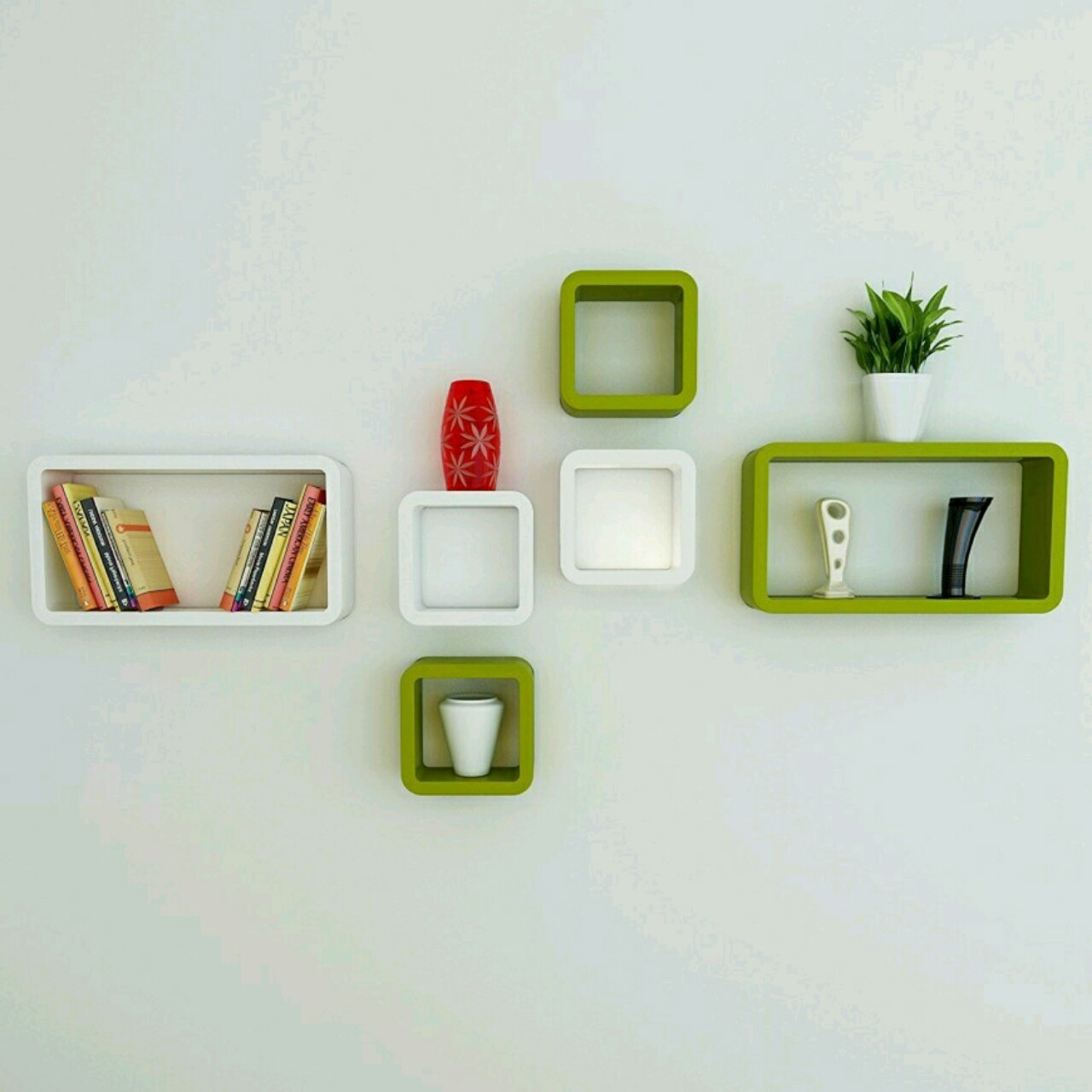 View OnlinePurchas Rectangle Square Shape Wooden Wall Shelf(Number of Shelves - 6, Green, White) Furniture (OnlinePurchas)