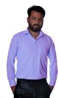Green Leaves Formal Shirts (Men's) - Green Leaves Men's Checkered Formal Purple Shirt