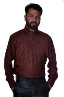Green Leaves Formal Shirts (Men's) - Green Leaves Men's Solid Formal Maroon Shirt