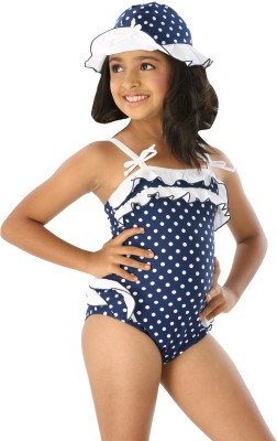 Fascinating Polka Print Girls Swimsuit