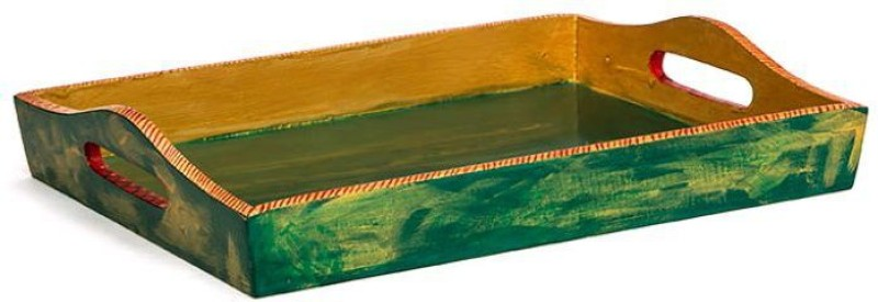 Kaushalam Large Painted: Green Antiqua Embossed Wood Tray(Green, Pack of 1)