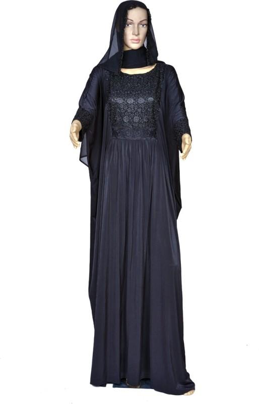 RABIYA COLLECTION KFTBACCUB01 LYCRA Self Design Abaya(Black)