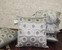 Zikrak Exim Embroidered Cushions Cover(Pack of 5, 40 cm*40 cm, Silver, White, Black)