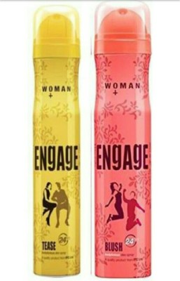 Engage Women's Tease, Blush Perfume Body Spray - For Women  (300 ml, Pack of 2)