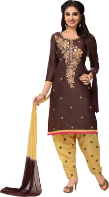 Oomph! Cotton Embroidered Salwar Suit Dupatta Material(Un-stitched) at flipkart
