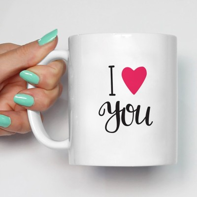 100YELLOW Coffee - I Love You Printed Ceramic Mug(350 ml)