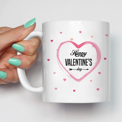 100YELLOW Coffee - Happy Valentines Day Printed Ceramic Mug(350 ml)
