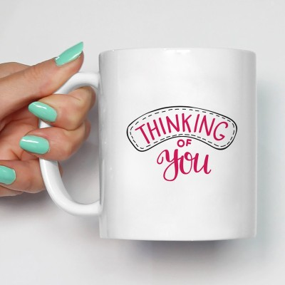 100YELLOW Coffee - Thinking of You Printed Ceramic Mug(350 ml)