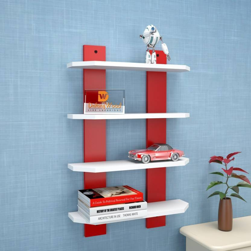 View india wooden handicraft wooden wall shelf red & white Wooden Wall Shelf(Number of Shelves - 4, Red, White) Furniture (india wooden handicraft)