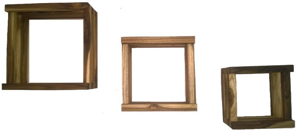 View PeachCherry Rack Shelf Wooden Wall Shelf(Number of Shelves - 3, Brown) Furniture (PeachCherry)