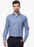 COBB Men's Checkered Formal Blue Shirt
