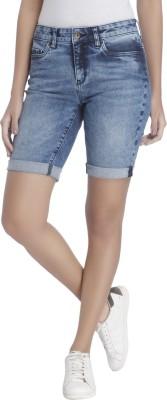 Vero Moda Solid Women's Blue Denim Shorts at flipkart