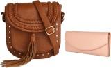 Lychee Bags Women Brown, Pink PU Sling B...