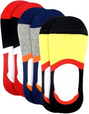 Color Fevrr Mens Striped No Show Socks(Pack of 3)