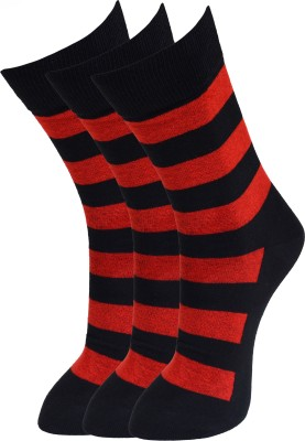 Marc Mens Striped Crew Length Socks(Pack of 3)