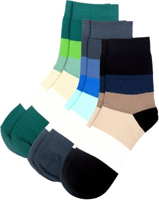 Color Fevrr Mens Striped Mid-calf Length Socks(Pack of 3)