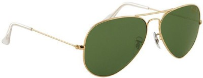 Suncare RB3025 001/58 size:58 golden natural green polarized Aviator Sunglasses(Green) at flipkart
