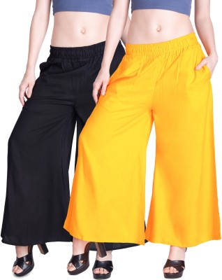 Lux Lyra Regular Fit Womens Black, Yellow Trousers