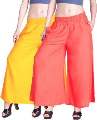Lux Lyra Regular Fit Womens Yellow, Pink Trousers