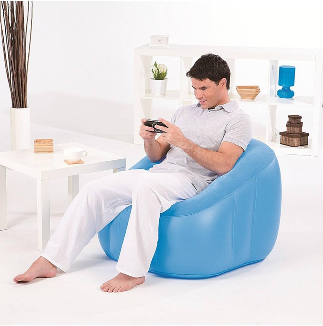 View Globalgifts Medium Global Inflatable air chair bag Lounger Air Filled Balloon Furniture Hangout As Lounge Chair Bean Bean Bag Chair  With Bean Filling(Blue) Furniture (Global Gifts)