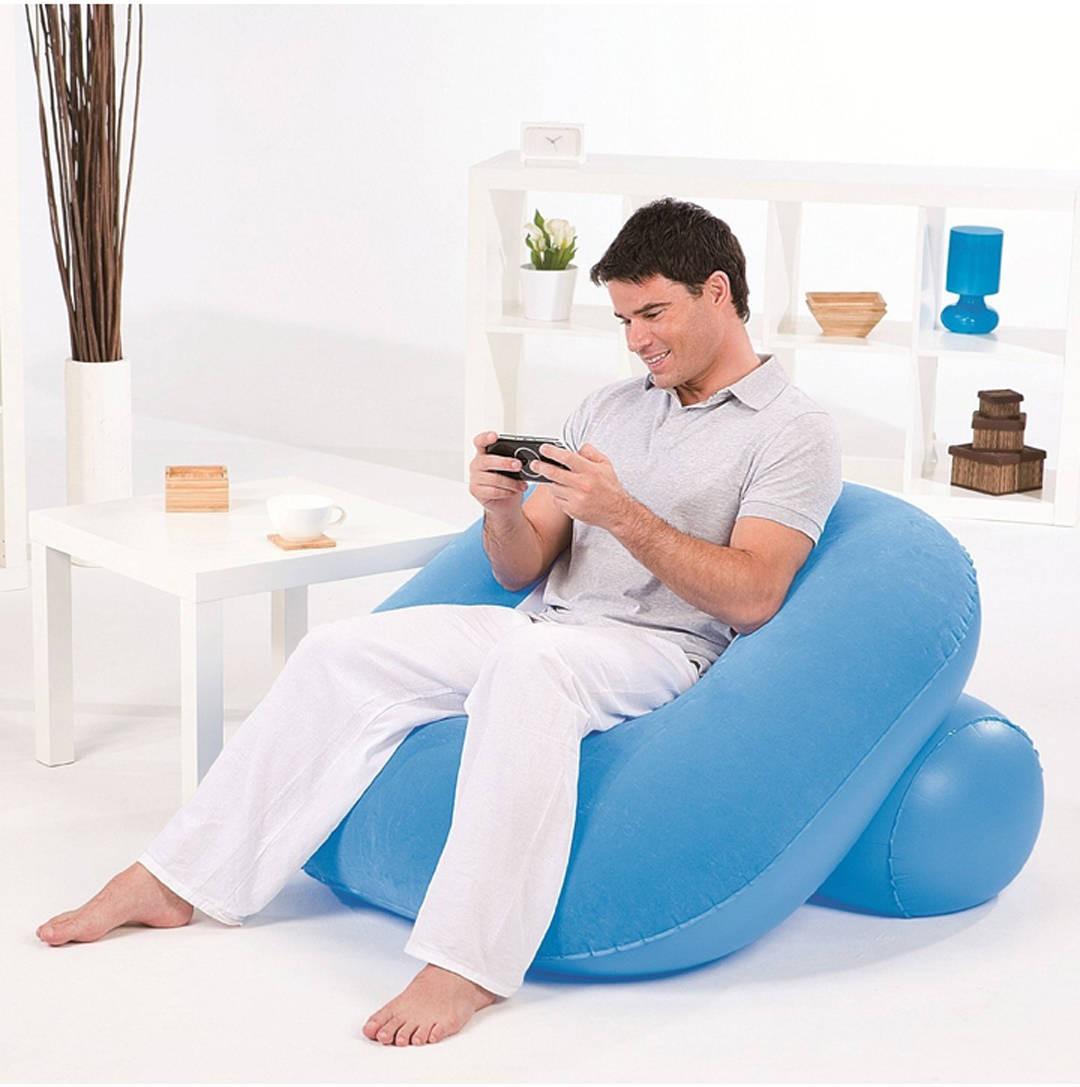 View Globalgifts Medium Global Inflatable nest air chair Lounger Air Filled Balloon Furniture Hangout As Lounge Chair Bean Bean Bag Chair  With Bean Filling(Blue) Furniture (Global Gifts)