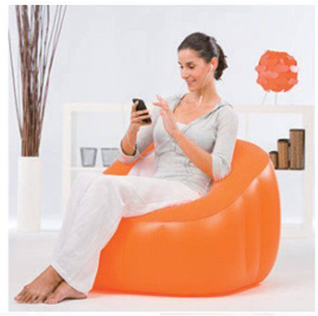 View Globalgifts Medium Global Inflatable air chair bag Lounger Air Filled Balloon Furniture Hangout As Lounge Chair Bean Bean Bag Chair  With Bean Filling(Orange) Furniture (Global Gifts)
