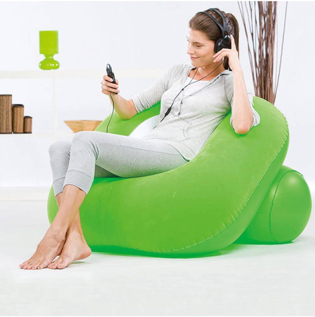 View Globalgifts Medium Global Inflatable nest air chair Lounger Air Filled Balloon Furniture Hangout As Lounge Chair Bean Bean Bag Chair  With Bean Filling(Green) Furniture (Global Gifts)