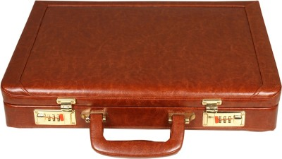 Leather World Sleek PU Leather Medium Briefcase - For Men & Women(Tan)