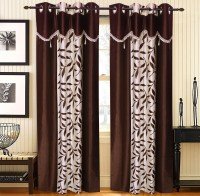 Home Candy Polyester Brown Polka Ring Rod Door Curtain(212 cms in Height, Pack of 2)