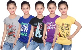 IndiStar Girls Printed Cotton T Shirt(Yellow, Pack of 5)