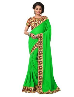 Viva N Diva Printed Fashion Georgette Saree(Green) at flipkart