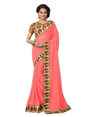 Viva N Diva Printed Fashion Georgette Saree(Orange) at flipkart