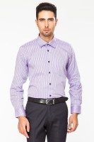 Dapper Homme Formal Shirts (Men's) - Dapper Homme Men's Striped Formal Purple Shirt