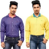 A Flash Formal Shirts (Men's) - A Flash Men's Polka Print Formal Multicolor Shirt(Pack of 2)