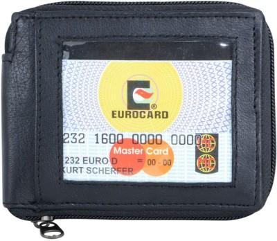 Holboro Men Black Genuine Leather Wallet(6 Card Slots)