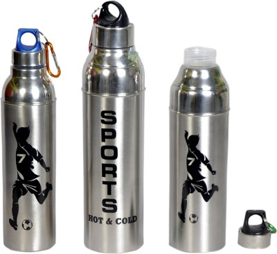 99DailyDeals Steel Ikon Hot And Cold 850 ml Bottle(Pack of 3, Steel/Chrome, Black)