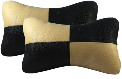 Autofurnish Beige, Beige Fabric Car Pillow Cushion for Universal For Car(Contemporary, Pack of 2)