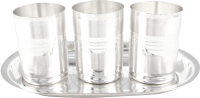 GS Museum Amrapali Glass Set With oval Tray 4 Pcs. Pack of 4 Dinner Set(Silver Plated)
