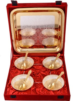 Jaipur Trade Silver & Gold Plated 4 Heavy Flower Bowl With Spoon With Tray Pack of 9 Dinner Set(Silver Plated) at flipkart