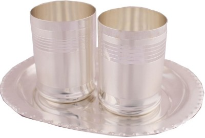 Adiidev Silver Plated Premium Glass Set With oval Tray 3 Pcs. Pack of 3 Dinner Set(Silver Plated)
